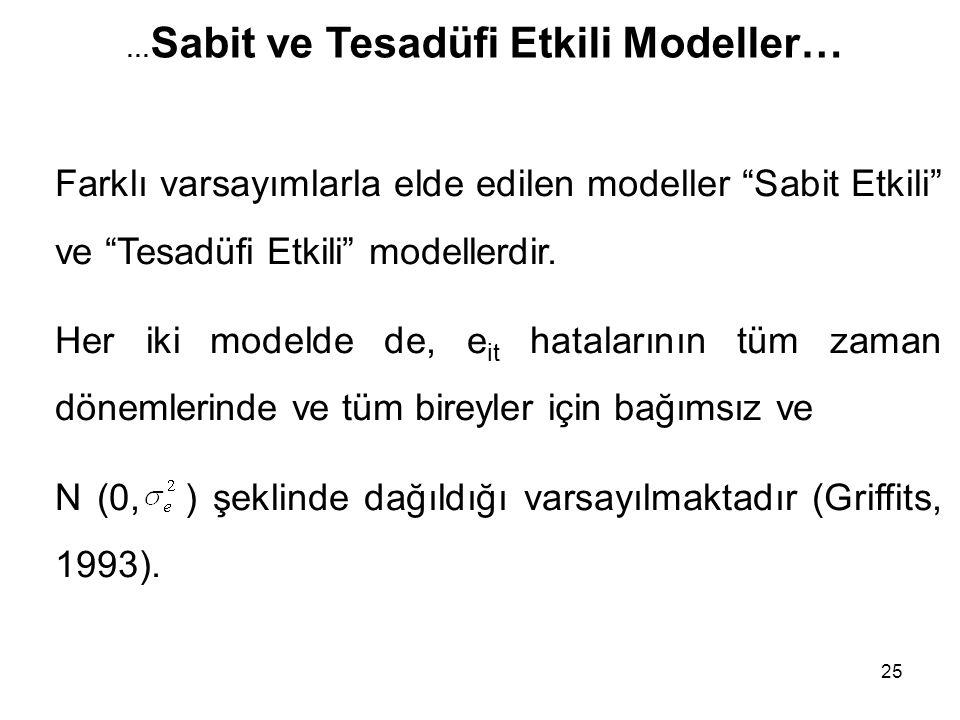 """25 Farklı varsayımlarla elde edilen modeller """"Sabit Etkili"""" ve """"Tesadüfi Etkili"""" modellerdir. Her iki modelde de, e it hatalarının tüm zaman dönemleri"""