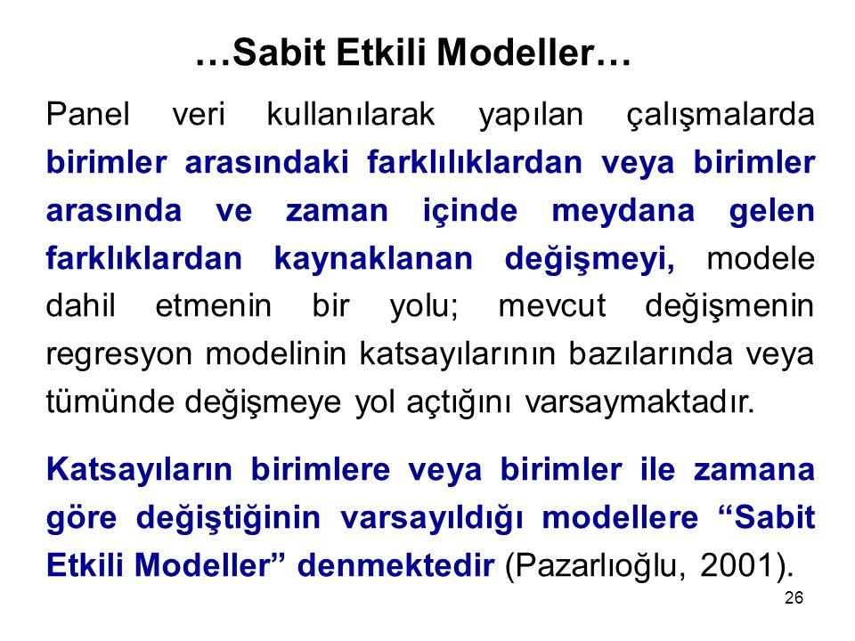 26 …Sabit Etkili Modeller… Panel veri kullanılarak yapılan çalışmalarda birimler arasındaki farklılıklardan veya birimler arasında ve zaman içinde mey