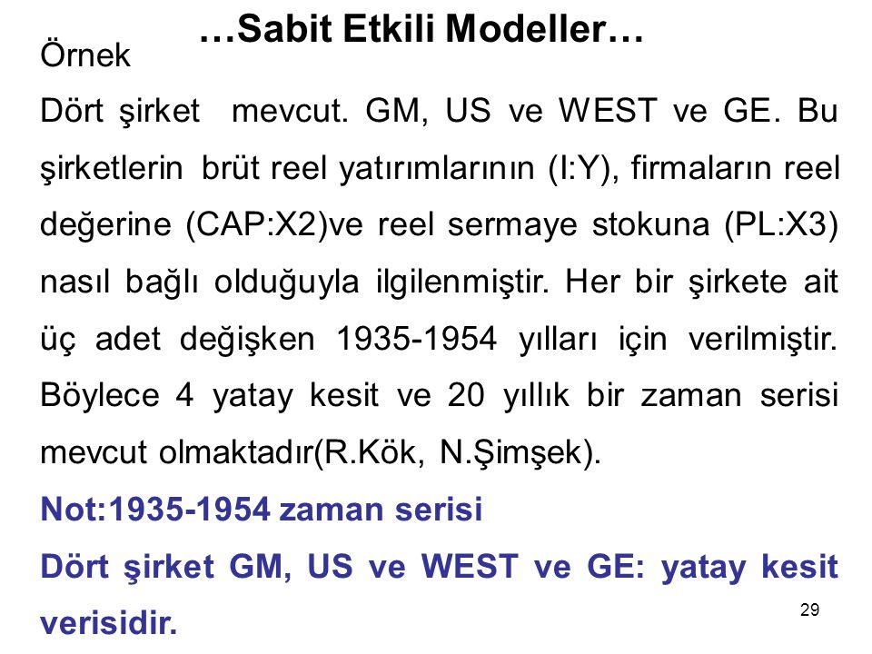 29 …Sabit Etkili Modeller… Örnek Dört şirket mevcut. GM, US ve WEST ve GE. Bu şirketlerin brüt reel yatırımlarının (I:Y), firmaların reel değerine (CA