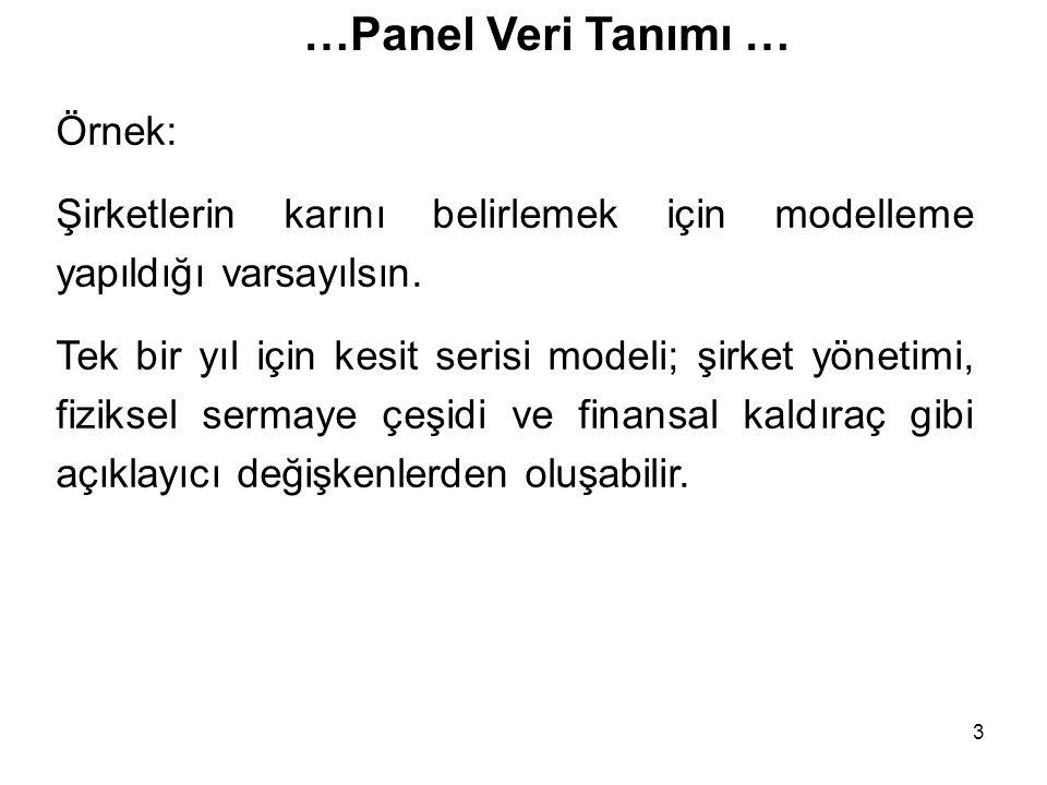 3 …Panel Veri Tanımı … Örnek: Şirketlerin karını belirlemek için modelleme yapıldığı varsayılsın. Tek bir yıl için kesit serisi modeli; şirket yönetim