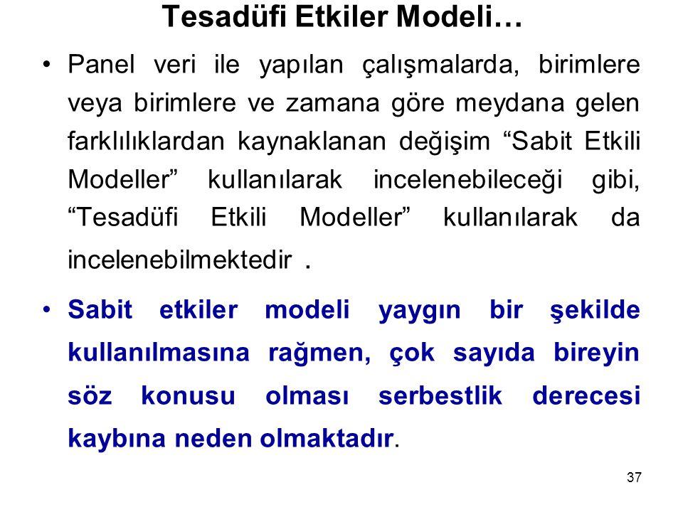 37 Tesadüfi Etkiler Modeli… Panel veri ile yapılan çalışmalarda, birimlere veya birimlere ve zamana göre meydana gelen farklılıklardan kaynaklanan değişim Sabit Etkili Modeller kullanılarak incelenebileceği gibi, Tesadüfi Etkili Modeller kullanılarak da incelenebilmektedir.