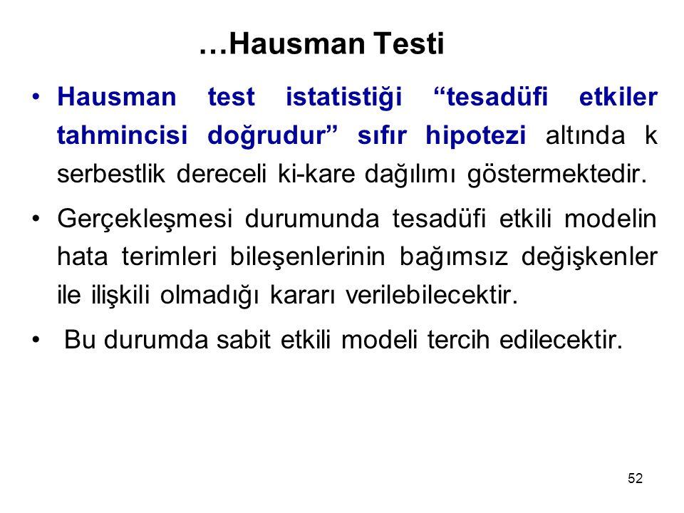 52 …Hausman Testi Hausman test istatistiği tesadüfi etkiler tahmincisi doğrudur sıfır hipotezi altında k serbestlik dereceli ki-kare dağılımı göstermektedir.