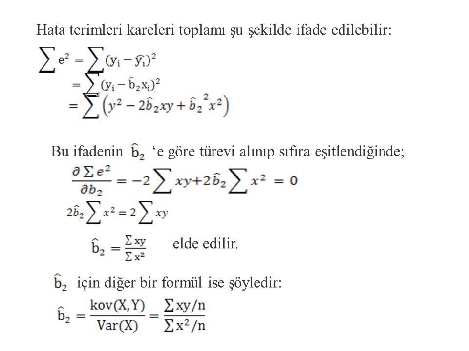 veya elde edilir.Bu eşitlik ortalamalar orjinine g ö re regresyon denklemidir.