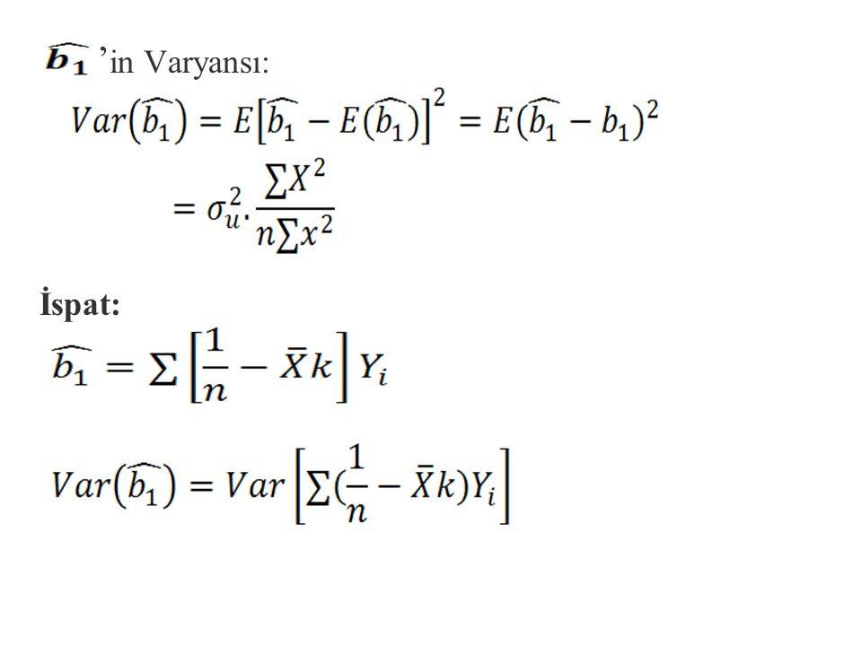 n,k ve örnekten örneğe sabit kaldığını düşünürsek ve ide yerine koyarsak; Y=b 1 +b 2 X'