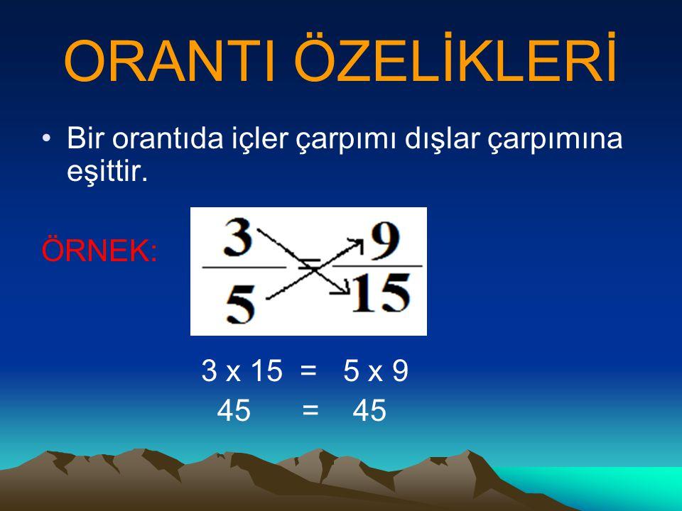 ORANTI ÖZELİKLERİ Bir orantıda içler çarpımı dışlar çarpımına eşittir. ÖRNEK: 3 x 15 = 5 x 9 45 = 45
