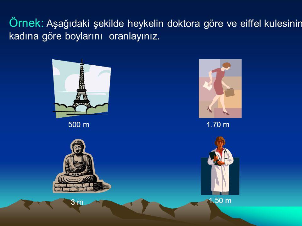 Çözüm: Heykelin boyu : 3 metre Doktorun boyu : 1.50 metre Buna göre; heykelin boyu = 3 m = 2 doktorun boyu 1.5 m Eiffel kulesinin boyu : 500 m İş kadınının boyu : 1.70 m Buna göre; Eiffel kulesinin boyu = 500 m = 294.11 iş kadınının boyu 1.70 m