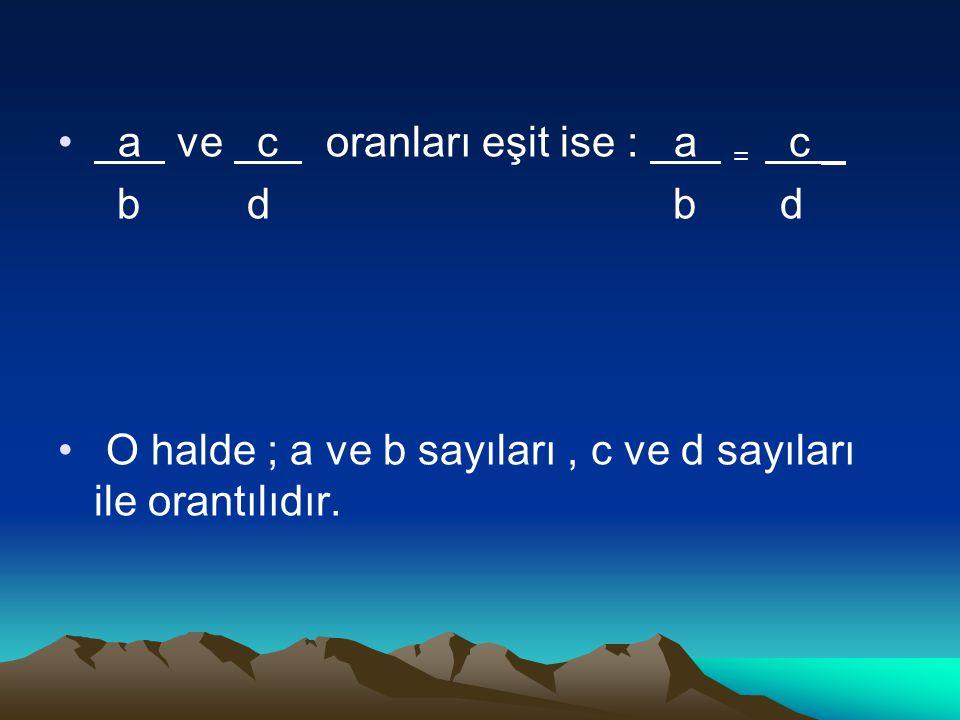 a ve c oranları eşit ise : a = c _ b d b d O halde ; a ve b sayıları, c ve d sayıları ile orantılıdır.