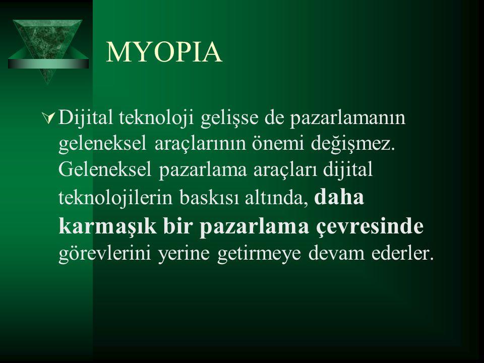 MYOPIA  Dijital teknoloji gelişse de pazarlamanın geleneksel araçlarının önemi değişmez. Geleneksel pazarlama araçları dijital teknolojilerin baskısı