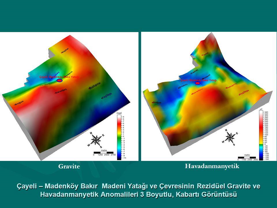 Çayeli – Madenköy Bakır Madeni Yatağı ve Çevresinin Rezidüel Gravite ve Havadanmanyetik Anomalileri 3 Boyutlu, Kabartı Görüntüsü Gravite Havadanmanyet