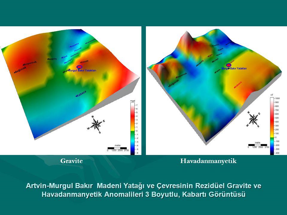 Artvin-Murgul Bakır Madeni Yatağı ve Çevresinin Rezidüel Gravite ve Havadanmanyetik Anomalileri 3 Boyutlu, Kabartı Görüntüsü GraviteHavadanmanyetik