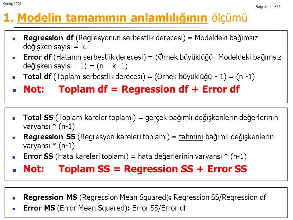 Regression-17 Spring 2006 Regression df (Regresyonun serbestlik derecesi) = Modeldeki bağımsız değişken sayısı = k.