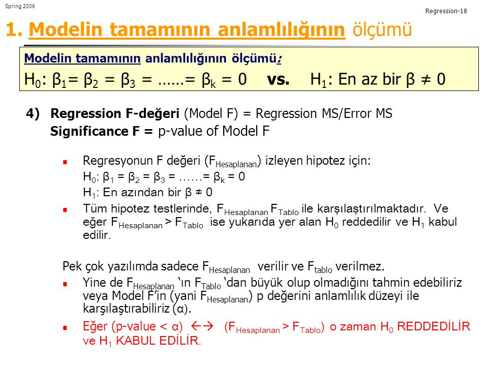 Regression-18 Spring 2006 Measures of significance of the model as a whole 4)Regression F-değeri (Model F) = Regression MS/Error MS Significance F = p