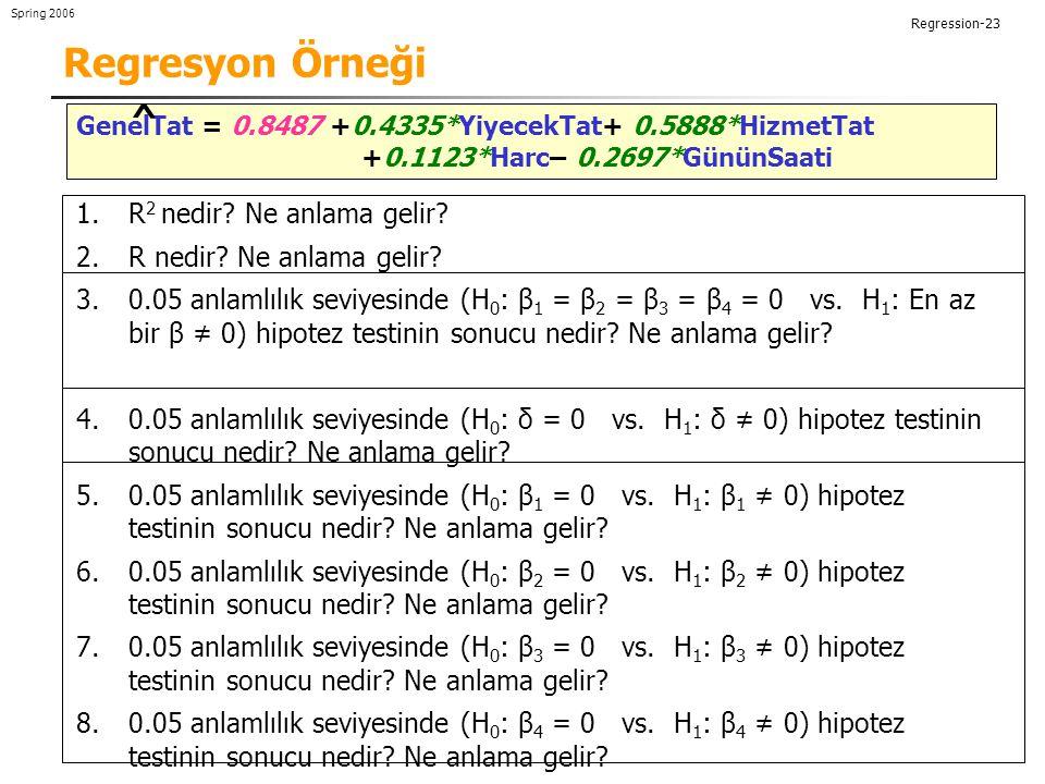 Regression-23 Spring 2006 Regresyon Örneği GenelTat = 0.8487 +0.4335*YiyecekTat+ 0.5888*HizmetTat +0.1123*Harc– 0.2697*GününSaati 1.R 2 nedir.