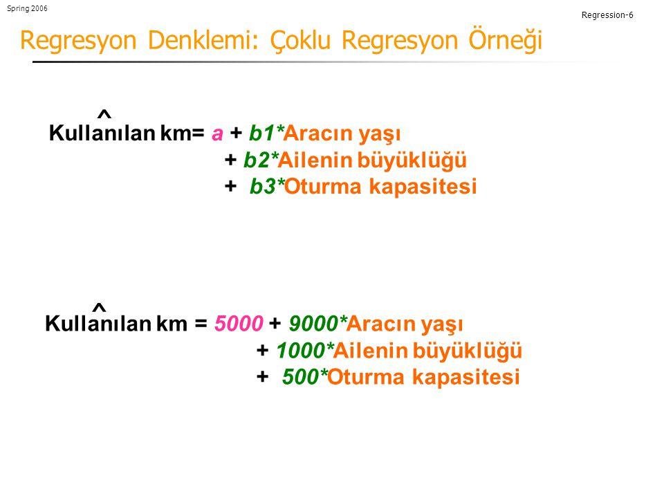 Regression-6 Spring 2006 Regresyon Denklemi: Çoklu Regresyon Örneği Kullanılan km = 5000 + 9000*Aracın yaşı + 1000*Ailenin büyüklüğü + 500*Oturma kapasitesi ^ Kullanılan km= a + b1*Aracın yaşı + b2*Ailenin büyüklüğü + b3*Oturma kapasitesi ^