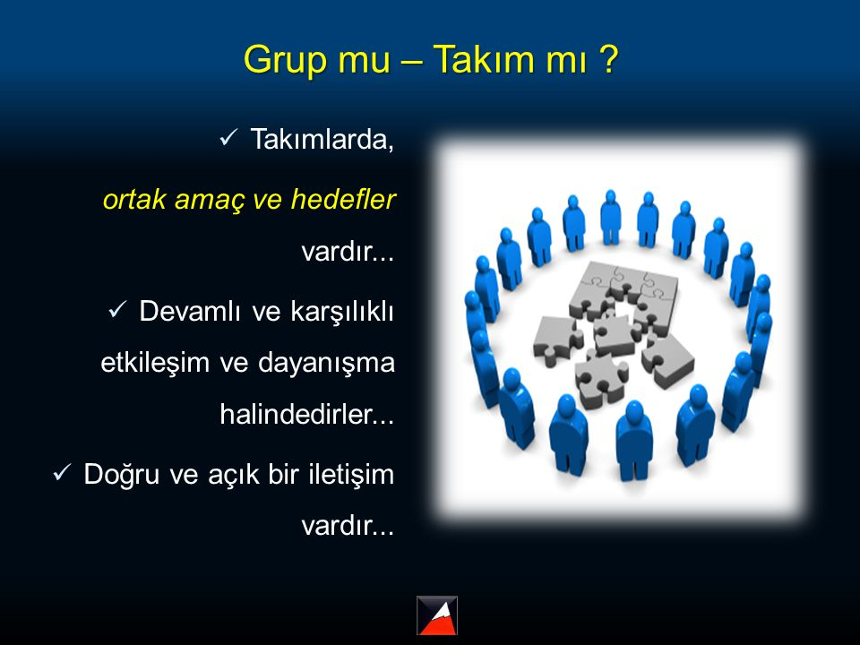 Grup mu – Takım mı ? Takımlarda, ortak amaç ve hedefler vardır... Devamlı ve karşılıklı etkileşim ve dayanışma halindedirler... Doğru ve açık bir ilet