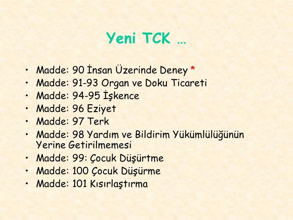 Yeni TCK … Madde: 90 İnsan Üzerinde Deney * Madde: 91-93 Organ ve Doku Ticareti Madde: 94-95 İşkence Madde: 96 Eziyet Madde: 97 Terk Madde: 98 Yardım