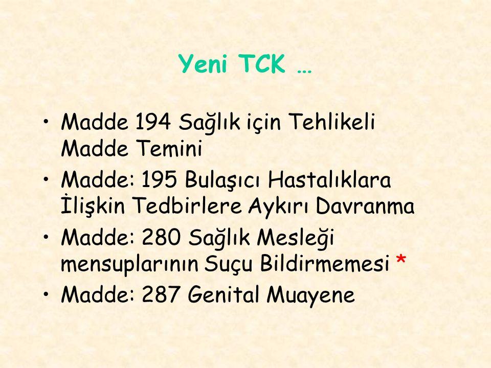 Yeni TCK … Madde 194 Sağlık için Tehlikeli Madde Temini Madde: 195 Bulaşıcı Hastalıklara İlişkin Tedbirlere Aykırı Davranma Madde: 280 Sağlık Mesleği