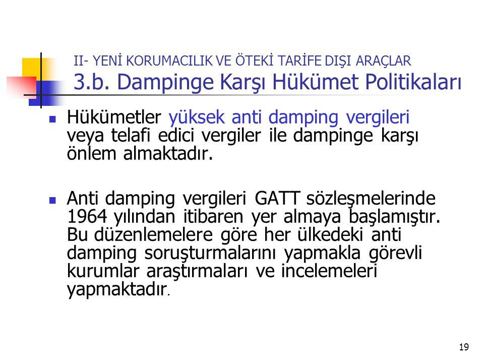 19 II- YENİ KORUMACILIK VE ÖTEKİ TARİFE DIŞI ARAÇLAR 3.b.
