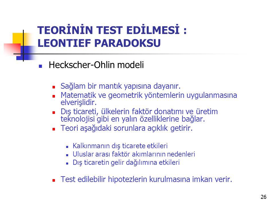 26 TEORİNİN TEST EDİLMESİ : LEONTIEF PARADOKSU Heckscher-Ohlin modeli Sağlam bir mantık yapısına dayanır. Matematik ve geometrik yöntemlerin uygulanma