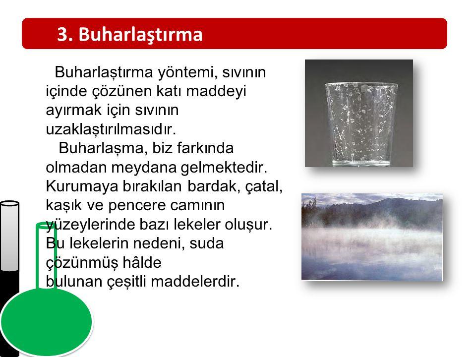 3. Buharlaştırma Buharlaştırma yöntemi, sıvının içinde çözünen katı maddeyi ayırmak için sıvının uzaklaştırılmasıdır. Buharlaşma, biz farkında olmadan