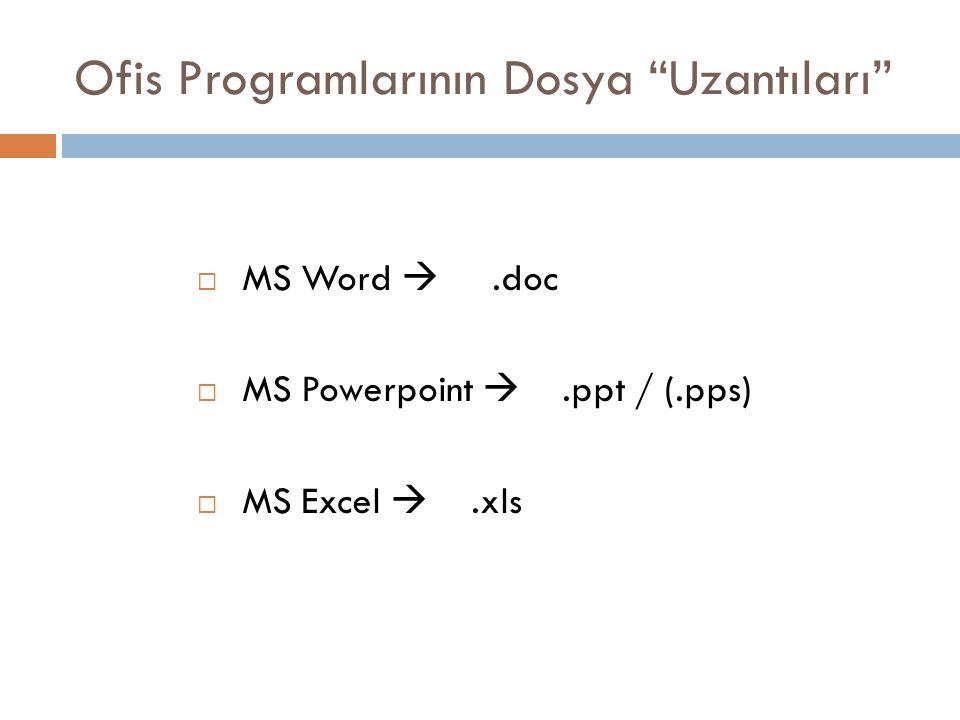 "Ofis Programlarının Dosya ""Uzantıları""  MS Word .doc  MS Powerpoint .ppt / (.pps)  MS Excel .xls"