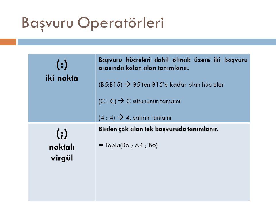 Başvuru Operatörleri (:) iki nokta Başvuru hücreleri dahil olmak üzere iki başvuru arasında kalan alan tanımlanır. (B5:B15)  B5'ten B15'e kadar olan