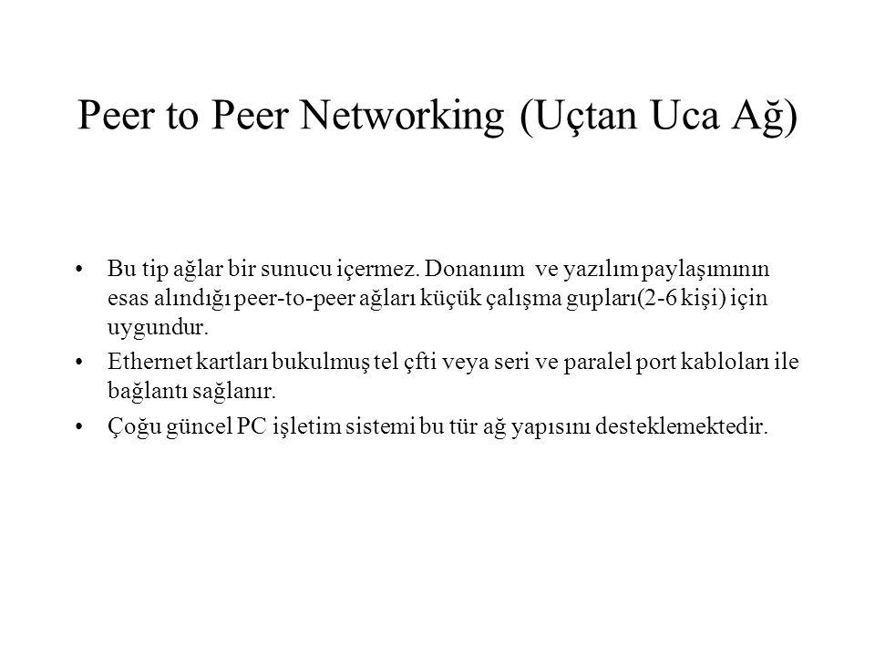 Peer to Peer Networking (Uçtan Uca Ağ) Bu tip ağlar bir sunucu içermez. Donanıım ve yazılım paylaşımının esas alındığı peer-to-peer ağları küçük çalış