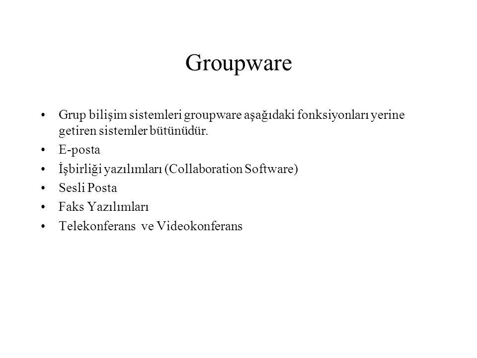 Groupware Grup bilişim sistemleri groupware aşağıdaki fonksiyonları yerine getiren sistemler bütünüdür. E-posta İşbirliği yazılımları (Collaboration S