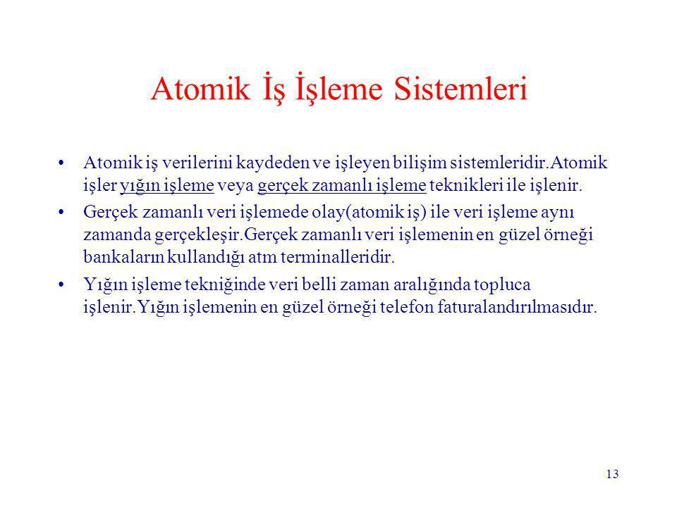 13 Atomik İş İşleme Sistemleri Atomik iş verilerini kaydeden ve işleyen bilişim sistemleridir.Atomik işler yığın işleme veya gerçek zamanlı işleme tek