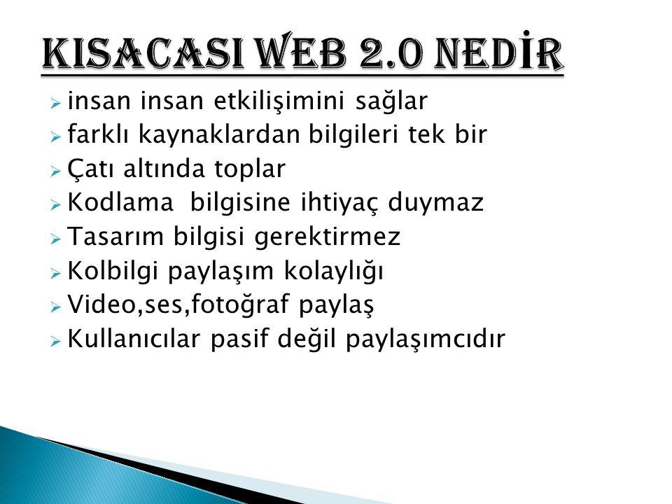  Web 2.0 kullanıcıları, web okuru olmaktan çıkarak web okur-yazarı haline gelmektedir.