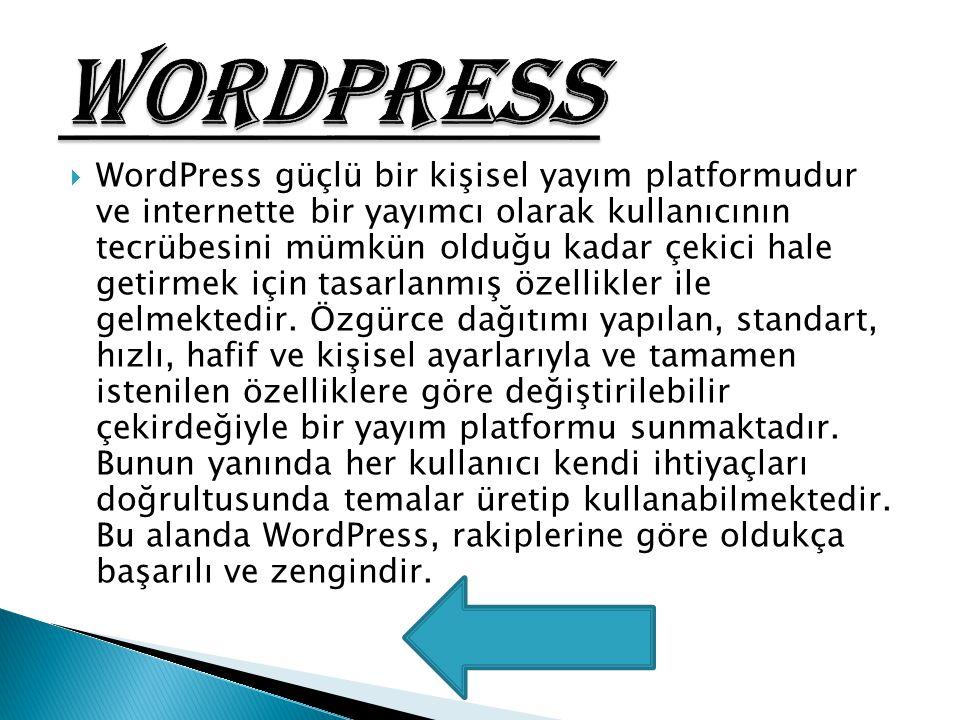  WordPress güçlü bir kişisel yayım platformudur ve internette bir yayımcı olarak kullanıcının tecrübesini mümkün olduğu kadar çekici hale getirmek iç