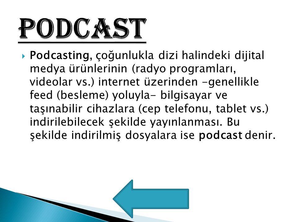  Podcasting, çoğunlukla dizi halindeki dijital medya ürünlerinin (radyo programları, videolar vs.) internet üzerinden -genellikle feed (besleme) yolu