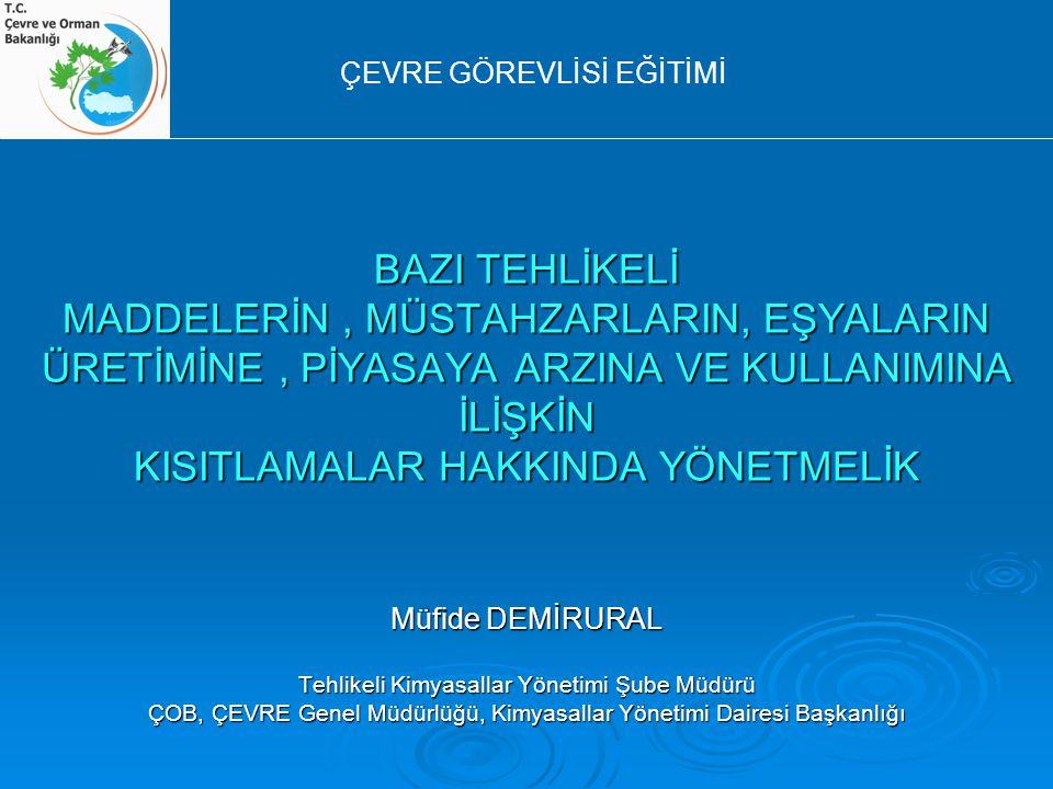  Yayımlanması ; 26 Aralık 2008 tarih ve 27092 sayılı RG, 5.mükerrer 26 Aralık 2008 tarih ve 27092 sayılı RG, 5.mükerrer  Yürürlüğe giriş ; Yayımlandığı tarih Yayımlandığı tarih Müfide DEMİRURAL Çevre görevlisi eğitimi 2010 - Antalya KISITLAMA YÖNETMELİĞİ