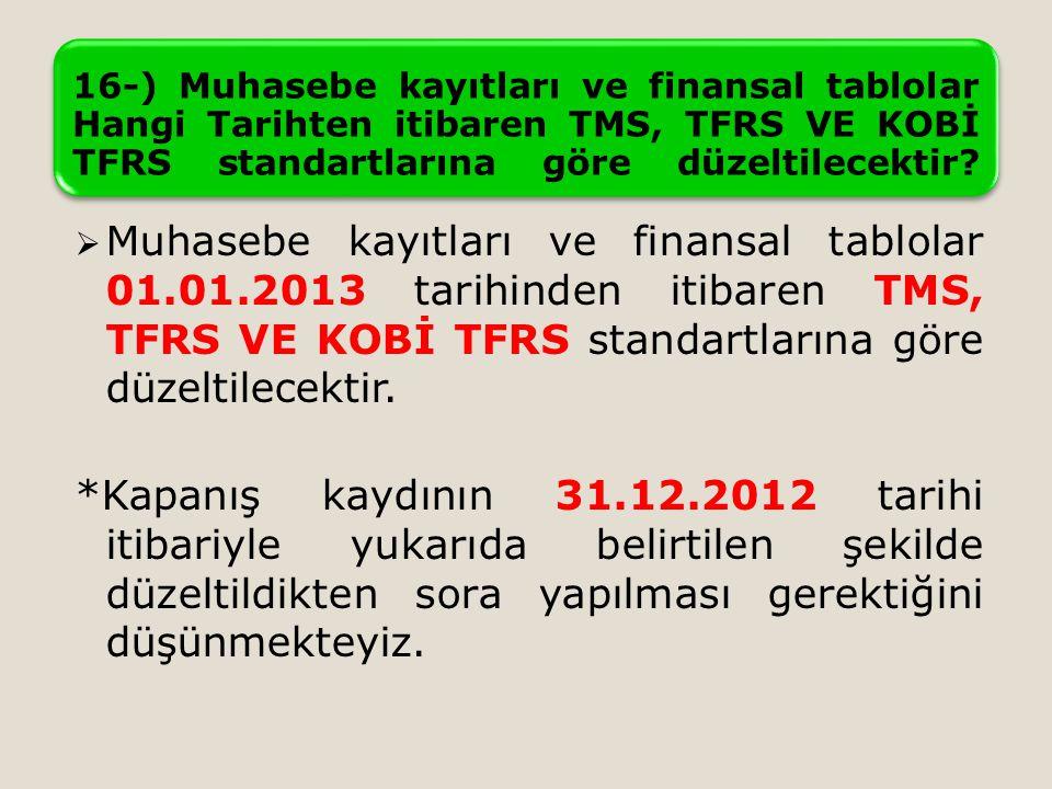 16-) Muhasebe kayıtları ve finansal tablolar Hangi Tarihten itibaren TMS, TFRS VE KOBİ TFRS standartlarına göre düzeltilecektir.