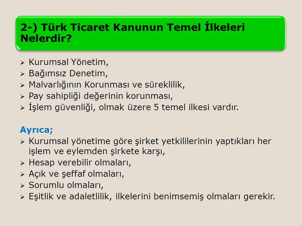 2-) Türk Ticaret Kanunun Temel İlkeleri Nelerdir.