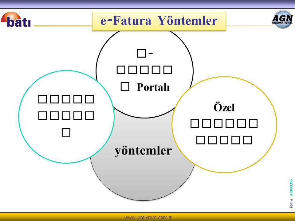 www. batiymm.com.tr.: form : s.800.06 yöntemler e - Fatur a Portalı Özel Entegr asyon Enteg rasyo n e - Fatura Yöntemler