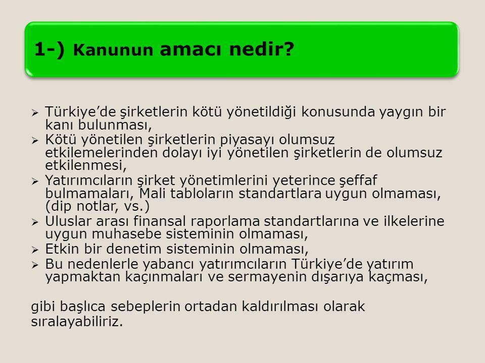 1-) Kanunun amacı nedir?  Türkiye'de şirketlerin kötü yönetildiği konusunda yaygın bir kanı bulunması,  Kötü yönetilen şirketlerin piyasayı olumsuz