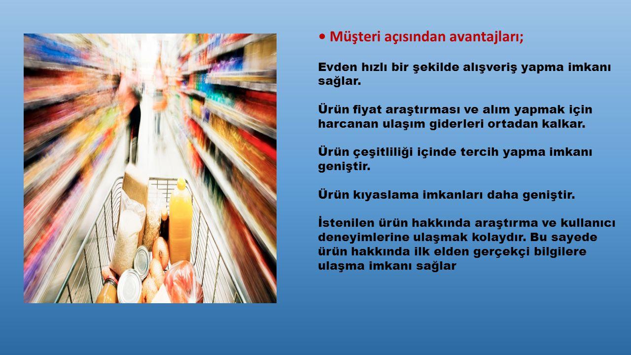 Müşteri açısından avantajları; Evden hızlı bir şekilde alışveriş yapma imkanı sağlar. Ürün fiyat araştırması ve alım yapmak için harcanan ulaşım gider
