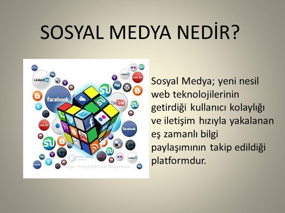 SOSYAL MEDYA NEDİR? Sosyal Medya; yeni nesil web teknolojilerinin getirdiği kullanıcı kolaylığı ve iletişim hızıyla yakalanan eş zamanlı bilgi paylaşı