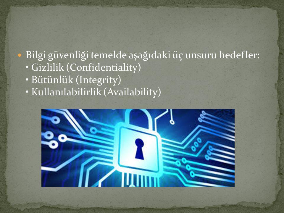 Bilgi güvenliği temelde aşağıdaki üç unsuru hedefler: Gizlilik (Confidentiality) Bütünlük (Integrity) Kullanılabilirlik (Availability)