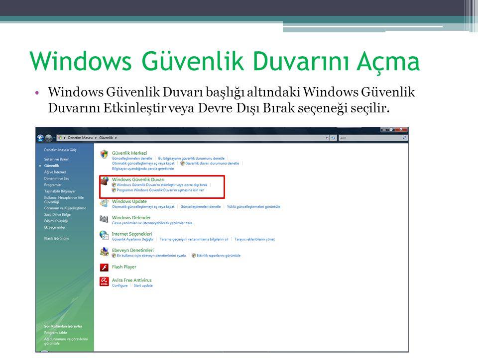 Windows Güvenlik Duvarını Açma Windows Güvenlik Duvarı başlığı altındaki Windows Güvenlik Duvarını Etkinleştir veya Devre Dışı Bırak seçeneği seçilir.