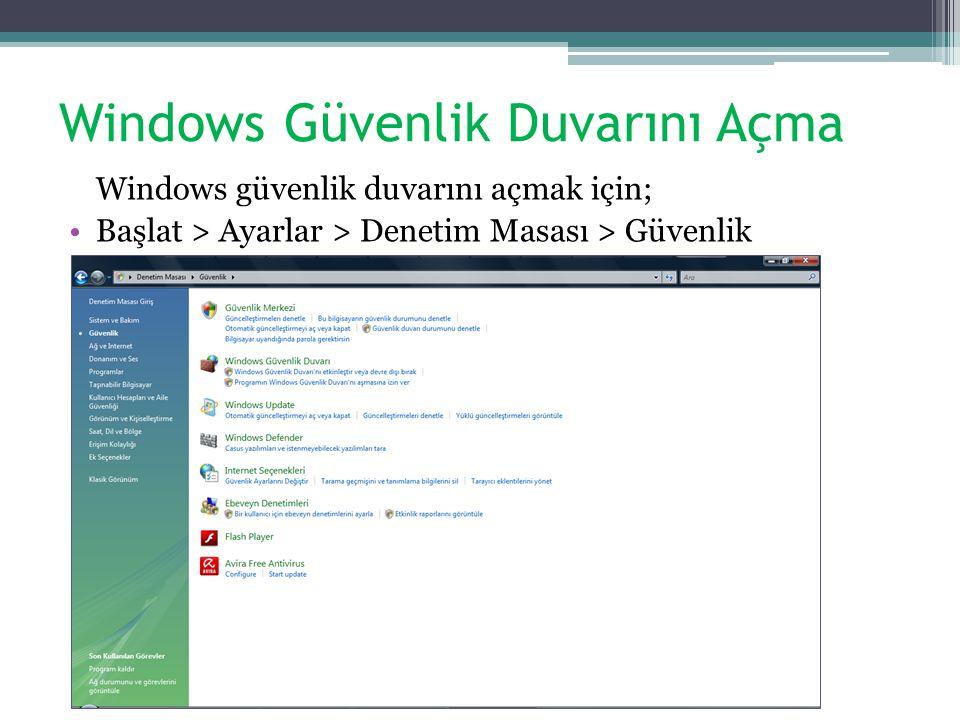 Windows Güvenlik Duvarını Açma Windows güvenlik duvarını açmak için; Başlat > Ayarlar > Denetim Masası > Güvenlik