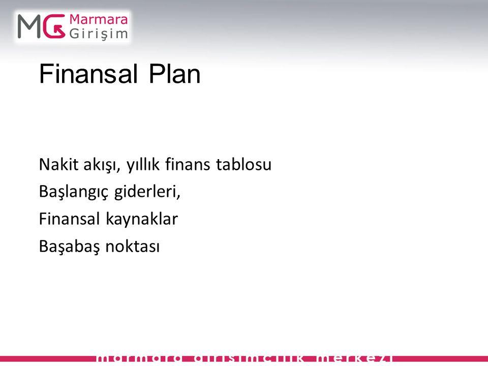 Finansal Plan Nakit akışı, yıllık finans tablosu Başlangıç giderleri, Finansal kaynaklar Başabaş noktası