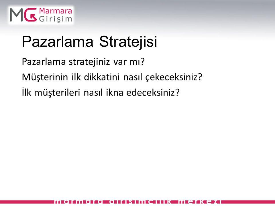 Pazarlama Stratejisi Pazarlama stratejiniz var mı? Müşterinin ilk dikkatini nasıl çekeceksiniz? İlk müşterileri nasıl ikna edeceksiniz?