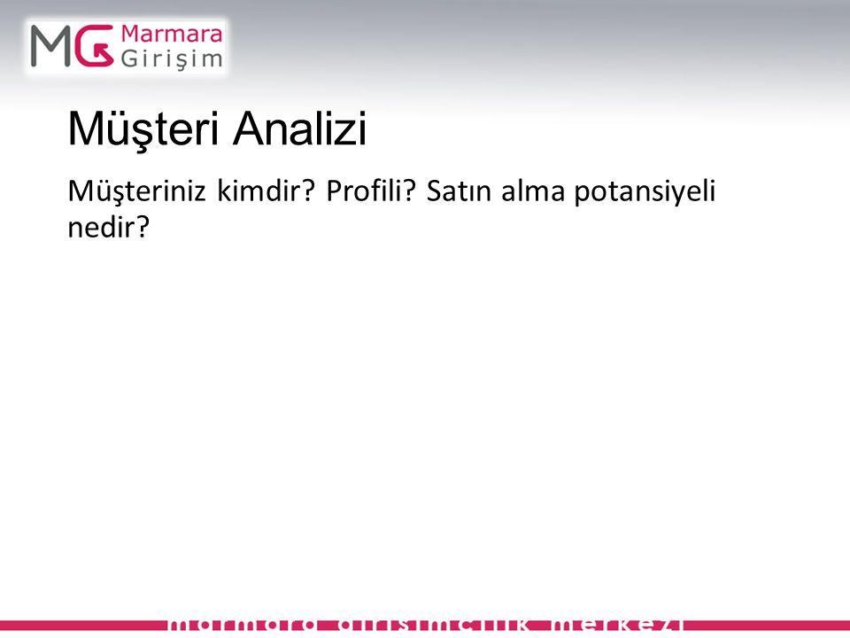 Müşteri Analizi Müşteriniz kimdir? Profili? Satın alma potansiyeli nedir?
