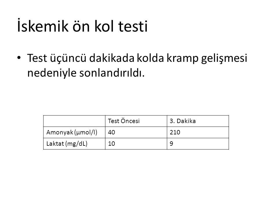 İskemik ön kol testi Test üçüncü dakikada kolda kramp gelişmesi nedeniyle sonlandırıldı. Test Öncesi3. Dakika Amonyak (µmol/l)40210 Laktat (mg/dL)109