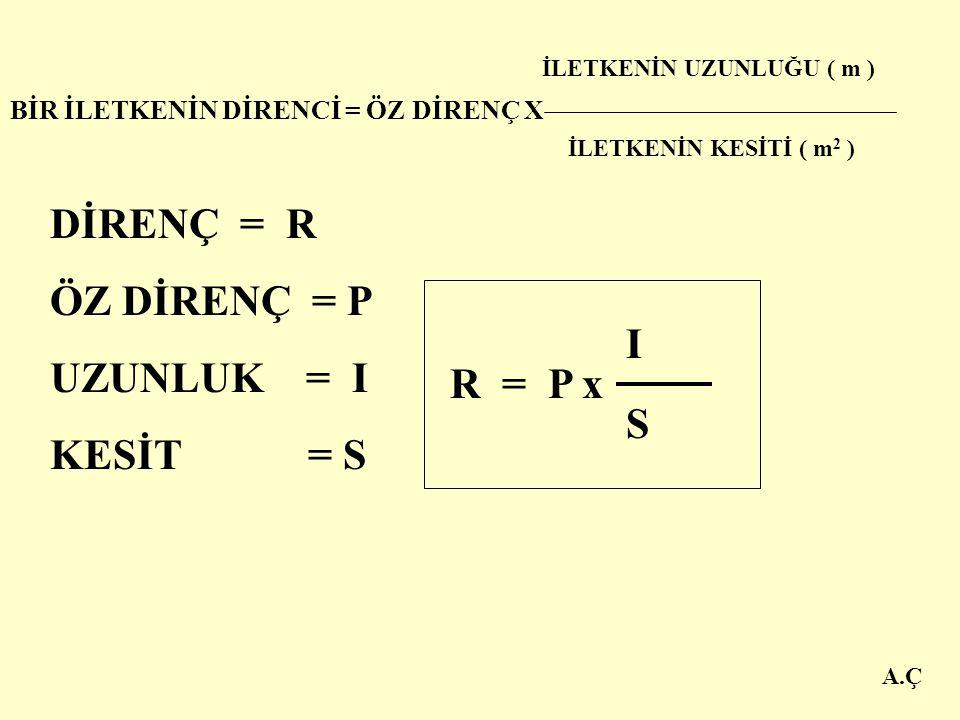 A.Ç HER ÜÇ DENEYİN SONUCUNDA; Bir iletkenin direnci; 1. İletkenin uzunluğuna 2. İletkenin kesitine 3. İletkenin cinsine bağlıdır.
