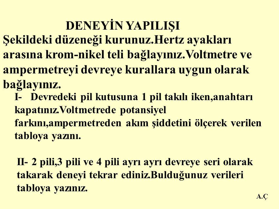 A.Ç DENEY DÜZENEĞİ Krom nikel tel (0,40m uzunluğunda )