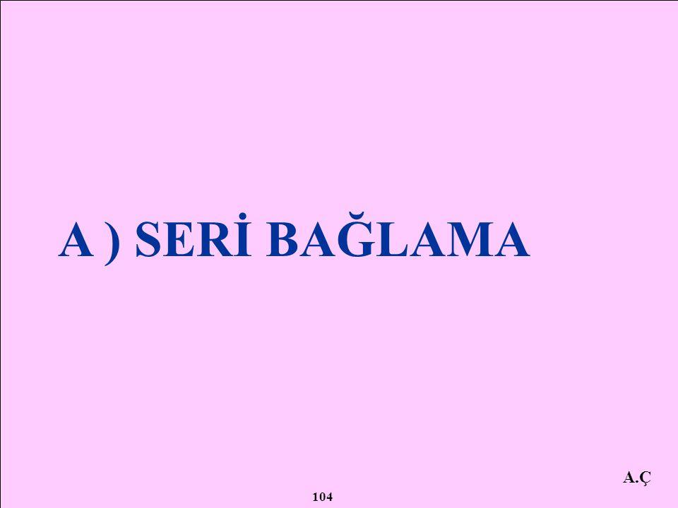 A.Ç DİRENÇLERİN BAĞLANMASI A ) SERİ BAĞLANMASI B ) PARALEL BAĞLANMASI C ) KARIŞIK BAĞLANMASI 103