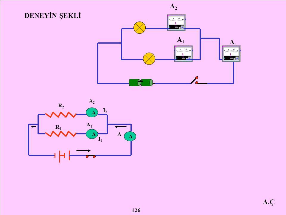 A.Ç DENEYDE KULLANILAN ARAÇ GEREÇLER 3 adet ampermetre 2 adet ampul 2 adet pil (1,5 V'luk ) Anahtar Bağlantı kablosu